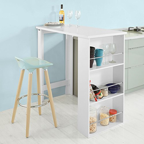 SoBuy® Bartisch, Beistelltisch, Stehtisch, Küchentheke, Küchenbartisch mit 3 Regalfächern, Tresen, weiß - 8
