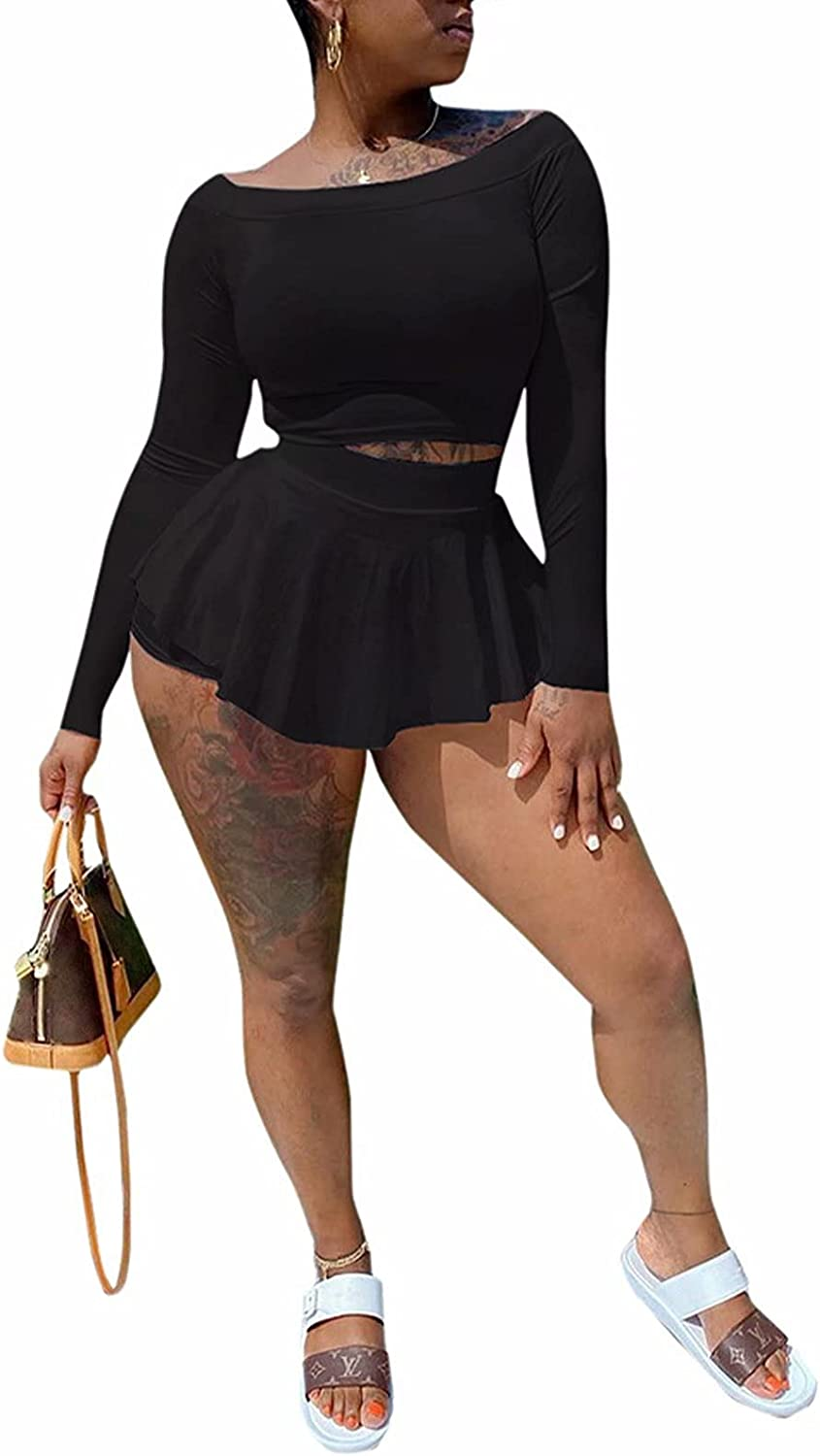 Womens 2 Piece Skirt Sets Long Sleeve Sexy Off Shoulder Crop Tank Top Shorts Midi Dress Club Outfits