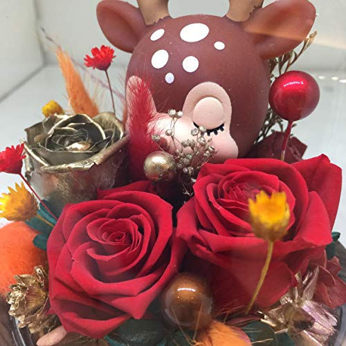"""My Deer U"" Handmade Forever Rose Fresh Preserved Real flower cute Animal Kid Glass Dome Globe Best Romantic Gift for her Valentine's Day Mother's Christmas Anniversary Unique Surprise Mom Wife NOfake"
