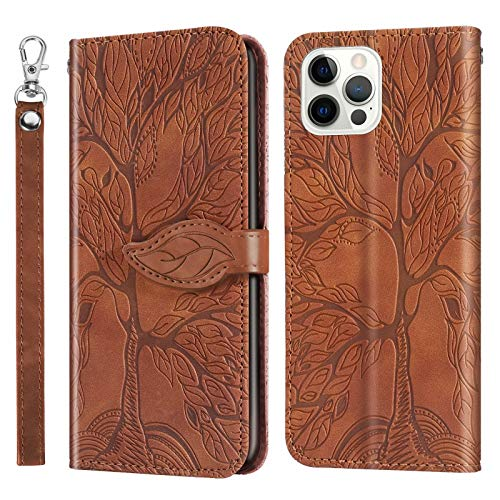 Miagon Prägung Lederhülle für iPhone 12 Pro,Handyhülle Tasche Brieftasche Hülle...