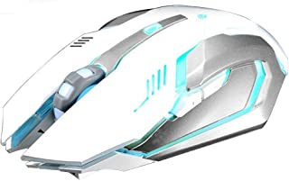 LexonElec® Wireless Ergonomic Mouse X7 2.4GHz Rechargeable Silent Optical Pro Gamer Gaming Mice with USB Receiver, 7 Colors LED Backlit, 3 Adjustable DPI (800/1200/1600), 6 Buttons for PC (White)