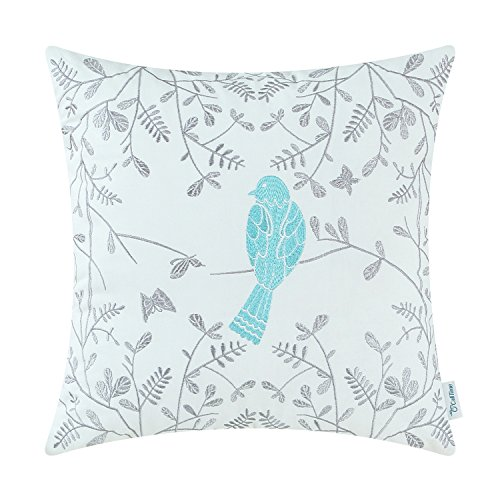 CaliTime Cotton Throw Pillow Case Cover for Bed Couch Sofa Cute Bird in Gray Garden Embroidered 18 X 18 Inches Turquoise