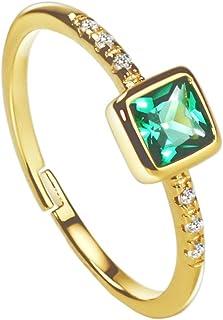 18K الذهب الزمرد خواتم الأميرة قص الماس خواتم أنيقة مجوهرات جميلة للنساء الفتيات