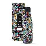 I-Drink - Trinkflasche 350/500/1000 ML Thermoflasche aus Stahl (750 ML, Graffiti)