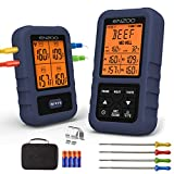 Meat Thermometer, ENZOO Wireless Meat Thermometer for Grilling, Ultra Accurate & Fast Digital Meat Thermometer with 4 Probes, 500FT Meat Thermometer for Smoker, Carring Case Included