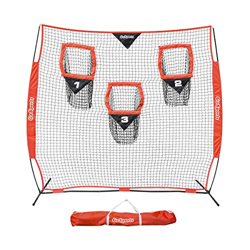 GoSports Football Trainer Throwing Net Choose Between 8' x 8' or 6' x 6' Nets - Improve QB Throwing Accuracy - Includes Foldable Bow Frame and Portable Carry Case