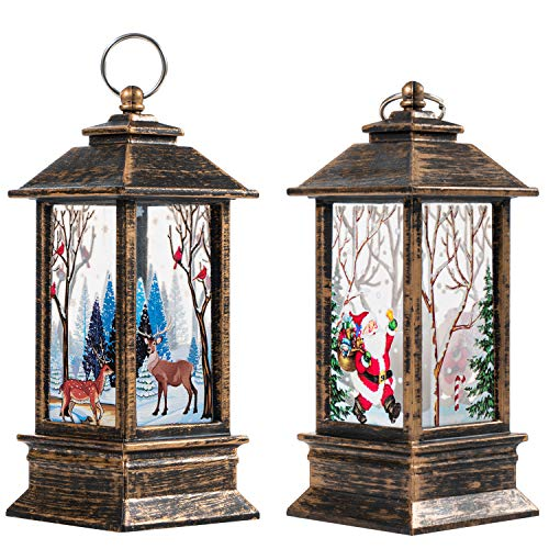 Christmas Candle Lantern Led Candle Lamp Table Top Lantern Lamp Battery Operated Hanging Lanterns Flameless Candle Lantern for Xmas Christmas Indoor Outdoor Use (Santa Claus+Deer)