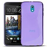 Conie SC5130 S Line Case Kompatibel mit HTC Desire 526 / 526g, TPU Smartphone Hülle Transparent Matt rutschfeste Oberfläche für Desire 526 / 526g Rückseite Design Lila