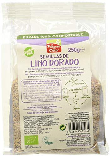 la FINESTRA sul CIELO Semillas de lino dorado pulido bio envase compostable - 250g (caja de 6 Uds.) Total: 1500g (1DORATI)