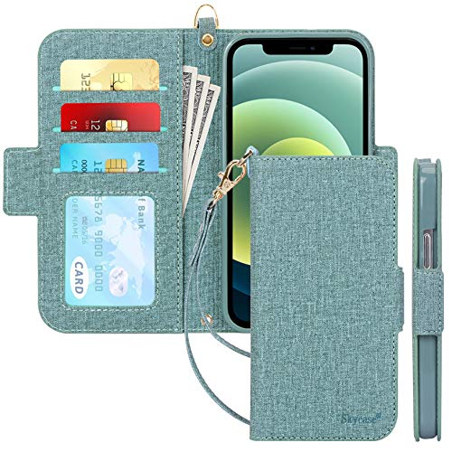 "Skycase Compatible for iPhone 12 Case/Compatible for iPhone 12 Pro Case 5G,[RFID Blocking]Handmade Flip Folio Wallet Case with Card Slots and Detachable Hand Strap for iPhone 12/12 Pro 6.1"" 2020,Green"