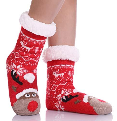 LANLEO Boys Girls Cute Animal Slipper Socks Fuzzy Soft Warm Thick Fleece Lined Winter Socks Kids Toddlers Christmas Stockings (Snowflake Deer, 2-4 Year Old)