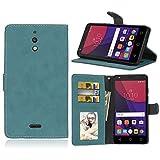 LMAZWUFULM Hülle für Alcatel Pixi 4 8050D (6,0 Zoll) 3G PU Leder Magnet Brieftasche Lederhülle Retro Gefrostet Design Stent-Funktion Ledertasche Flip Cover Blau