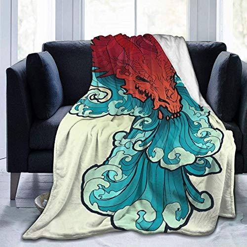 Manta de forro polar ultra suave, diseño de dragón rojo sobre el fondo de las olas del mar. Estilo retro japonés, decoración del hogar, cálida manta para sofá cama, 20 x 60 pulgadas