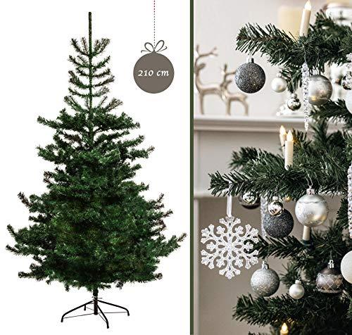 VERIPRETTY künstlicher Weihnachtsbaum NORDMANNTANNE 210 natürlicher Christbaum grün inkl. Christbaumständer besonders dichter Tannenbaum in Premium Qualität - naturgetreu und Leichter Aufbau (210 cm)