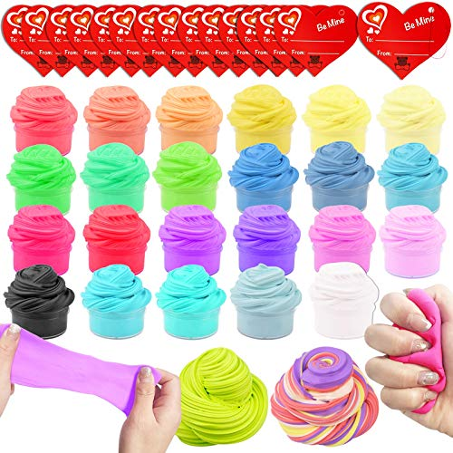 AMENON 28 Pack Butter Slime Kit Valentines Day Gifts with 32 Kids Valentine Exchange Cards Fluffy Putty Colorful Stress Relief Toy Valentines Toy for Kids Classroom Exchange Gifts School Games Prizes