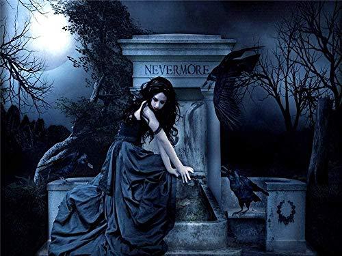 PQGHJ Rompecabezas de Halloween para Adultos 1000 Piezas Rompecabezas niño Rompecabezas Juguetes Juego Halloween gótico Oscuro Cuervo Mujer