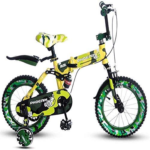 Pkfinrd Bloemenstandaard Kindervouwfiets 14 Jongen Fiets 3-4-5 Jaar Oud Meisje Baby Kind Mountainbike Geel kinderfiets Grootte: 14 inch Plankrek