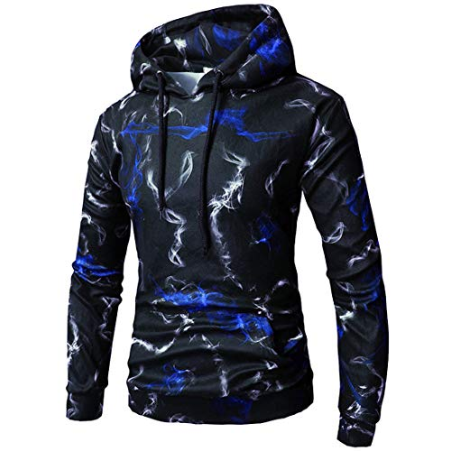 XWLY Pullovers Herren Hoodie Herren Sport Outdoor Running Top Mode Trend Kordelzug Känguru-Tasche Langarm Casual Gentleman Boutique Neue Herren Tops Blue. L