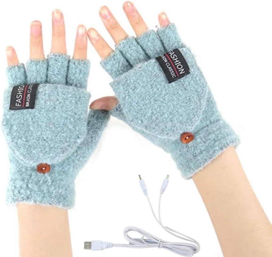 Women's & Men's USB Heated Gloves Knitting Hands Full & Half Heated Fingerless Heating Warmer with Button Washable Design, Mitten Winter Hands Warm Laptop Gloves (Mint)