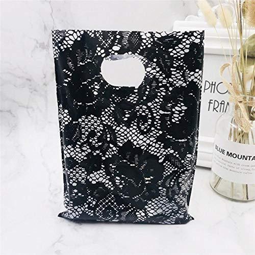 Altri gioielli con motivo Borsa in plastica con manici 15x20 cm Regalo di nozze Spessa Boutique Regalo Shopping Imballaggio Borsa con manico in plastica, fiore rosa nero