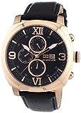 Tommy Hilfiger Fitz - Reloj de Cuarzo para Hombre, Correa de Cuero Color Negro