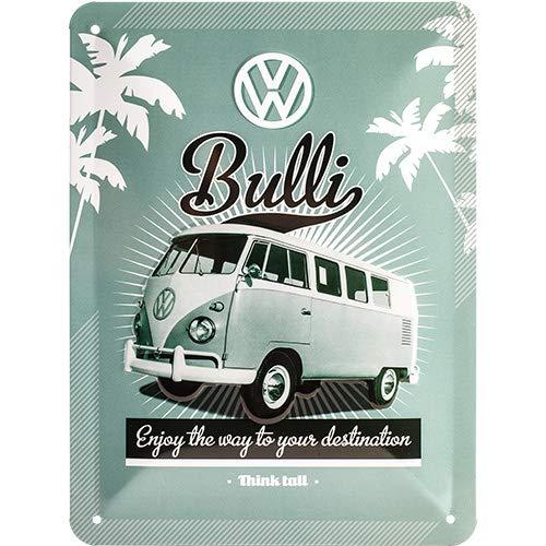 Nostalgic-Art Cartel de Chapa Retro VW – Bulli T1 – Idea de Regalo de Furgoneta Volkswagen, metálico, Diseño Vintage para decoración Pared, 15 x 20 cm
