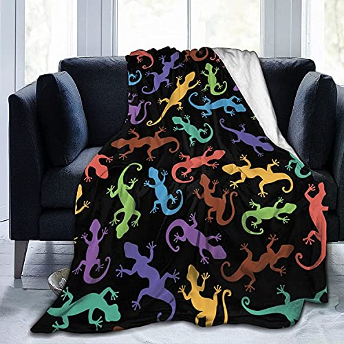 Manta colorida acuarela lagartos franela polar manta para bebé niños hombres mujeres, mantas suaves y cálidas tamaño Queen y mantas para sofá cama viaje sofá - 50*