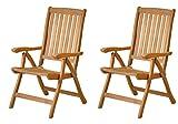 2x Premium Hochlehner 'Pisa' aus Teak-Holz  Edler Gartensessel für Wintergarten  Wetterfester Garten-Stuhl & Klapp-Sessel, Terrassen-Möbel  Praktischer Klappstuhl + verstellbare Rückenlehne
