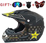 Adulto Motocross Casco MX Moto Casco ATV Scooter ATV Casco D. O. T Certificado Rockstar Multicolor con Gafas Máscara Guantes (S, M, L, XL),M