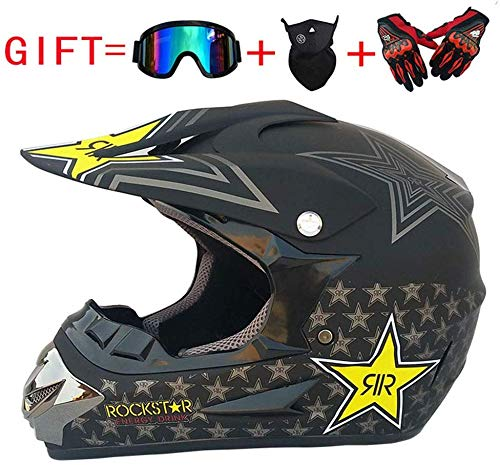Adulto Motocross Casco MX Moto Casco ATV Scooter ATV Casco D. O. T Certificado Rockstar Gafas Máscara Guantes (S, M, L, XL),M