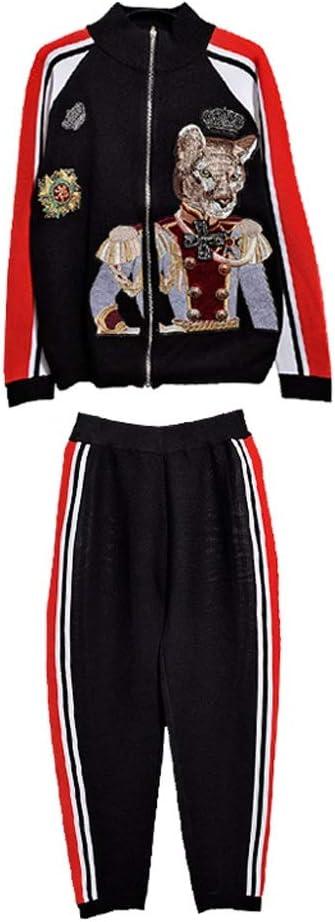 UXZDX Runway Suit Set Women's Embroidery Color Block Zip Jacket Casual Pants Set (Size : Small)