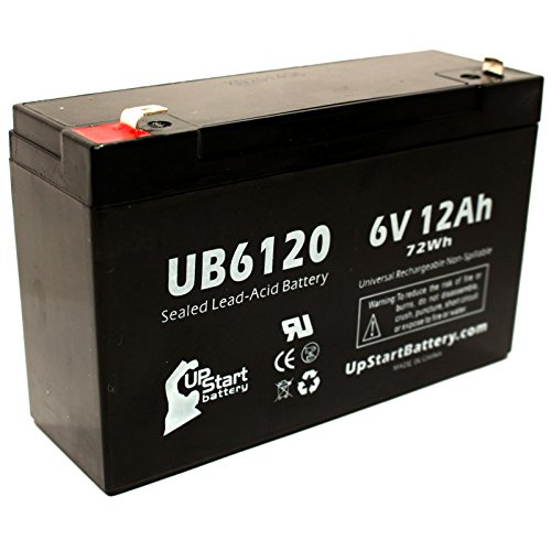 Replacement for YUASA NPX-50 Battery - Replacement UB6120 Universal Sealed Lead Acid Battery (6V, 12Ah, 12000mAh, F1 Terminal, AGM, SLA) - Includes Two F1 to F2 Terminal Adapters
