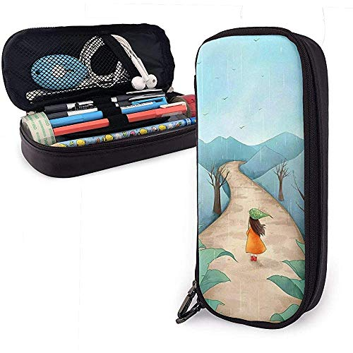 Wangfone Sprout en Meisje Print Bureau Accessoires Lederen Potlood Pouch Grote Capaciteit Kleine Cosmetische Case