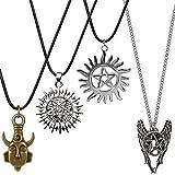 Supernatural Necklace, YGDZ 4 Pack Two-Sided Supernatural Merchandise Necklace Pendant