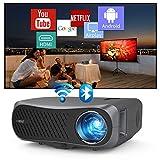 Wi-Fi プロジェクター 1080p ネイティブ無線WIFIでスマホに直接接続 4Kをサポート7200lm BluetoothプロジェクターAndroid TV搭載 1920×1080リアル解像度 垂直/水平キーストーン補正 ホームムービー プロジェクター ネットフリックス Youtube対応