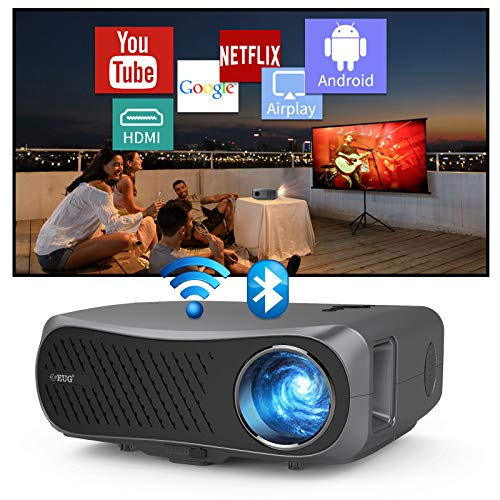 1920x1080 LCD Wireless Bluetooth Projector 1080P Native 4K 7200lumen Smart Home Video Projectors with Android HDMI USB Speakers WiFi Outdoor Movie Projectors for iPhone PS5 Blu Ray DVD Roku TV Stick