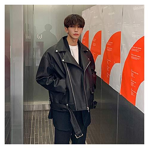 aiyu Kunstlederjacke Jacke Männer Koreaner Langarm Lose Revers Schwarze Jacke Männer Einfache dünne warme Winterjacke Junge 2020 (Color : Black, Size : XXL)