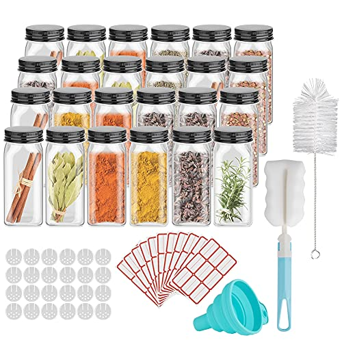GEEDIAR Gewürzgläser Set mit Streueinsatz - 24er Glas Gewürzdosen eckig Aufbewahrung mit Deckel - 4oz/120ml - Gewürzstreuer mit Verschiedene Streuer - Trichter, Bürste, Etiketten, 10,5 x 4,3 cm