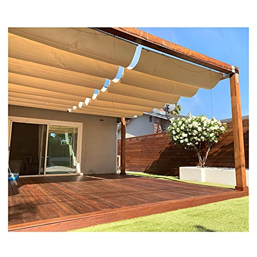 XJJUN Sun Shade Sail, Retractable Slide Wire Wave Shade Sail UV Resistant, Waterproof And Rainproof With Mounting Kit, For Pergola, Sun Room (Color : Beige, Size : 1x4m)