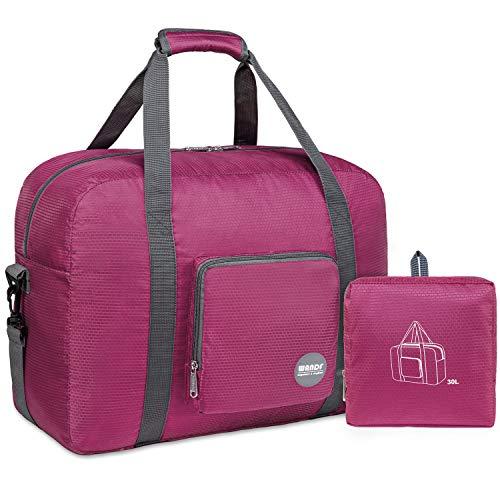 WANDF Foldable Travel Duffel Bag Sac de Voyage Pliable Sac de Sport Gym Résistant à l'eau Nylon (40L Rose)