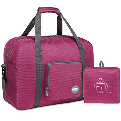 "18"" Foldable Duffle Bag 40L for Travel Gym Sports Lightweight Luggage Duffel By WANDF, Fuchsia"