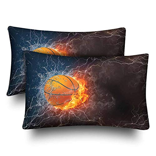 CiCiDi Body Pillow Case 5ft(50cm X 150cm) Rectangle Pillow Case Basketball Fire Soft Cotton Machine Washable with Zippers Maternity/Pregnancy Pillow Cover 98