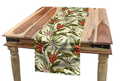 ABAKUHAUS Blad Tafelloper, Romantische Aloha Vintage, Eetkamer Keuken Rechthoekige Loper, 40 x 225 cm, Veelkleurig