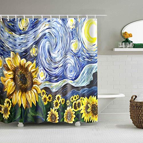 Ciujoy Sonnenblume Duschvorhang 180x180cm, Anti-Schimmel, Anti-Bakteriell, Wasserdicht aus Polyester mit 12 Duschvorhangringen 3D Digitaldruck, Duschvorhänge für Badewanne & Dusche in Badezimmer