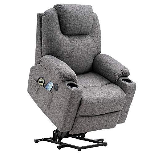 MCombo Elektrisch Aufstehhilfe Fernsehsessel Relaxsessel Massage Heizung elektrisch verstellbar USB Anschluss (Grau)