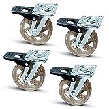 4 x SO-TECH Roulette de Meuble Pivotante'Shift' Couleur Marron-transparent Ø 75 mm...