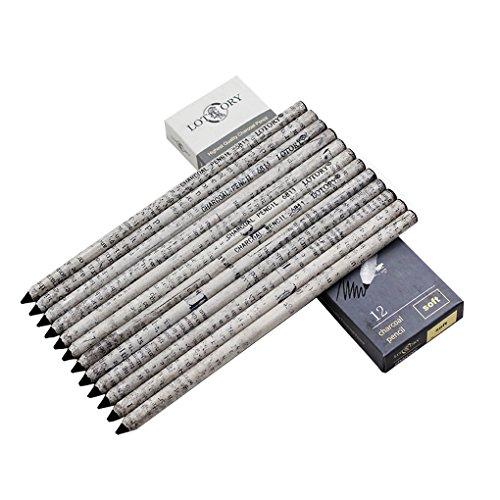 Professional Artists Charcoal Pencils, Soft Charcoal Pencil, Paper Wrapped, Senior Charcoal Sketch Drawing Pencils, Carbon Pencil Black, 12 Count
