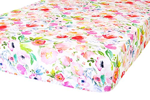 ADDISON BELLE 100% Organic Cotton Fitted Crib Sheet - Premium Baby Bedding - Soft, Breathable & Durable - Watercolor Floral Print