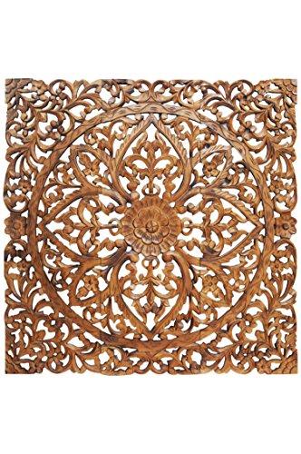 Orientalische Holz Ornament Wanddeko Rajab 90cm Gross XL | Orientalisches Wandbild Wanpannel in Braun als Wanddekoration | Vintage Triptychon als Dekoration im Schlafzimmer oder Wohnzimmer 3 teilig