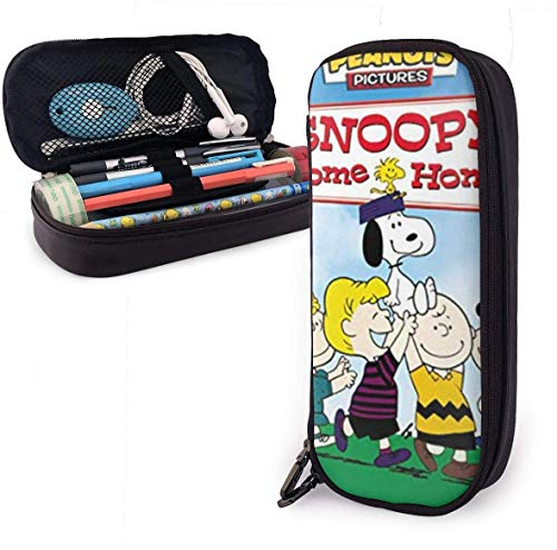 Willkommen zu Hause snoo-py Big Capacity Bleistiftetui Ledermäppchen Briefpapier Tasche Reißverschlusstasche Bleistifthalter